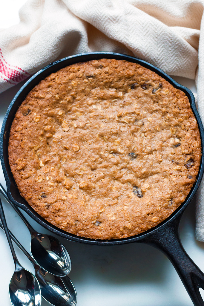 Gluten-Free Oatmeal Raisin Skillet Cookie