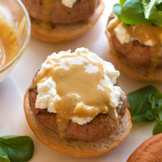 Lemon Honey Mustard Turkey Burgers with Creamy Goat Cheese