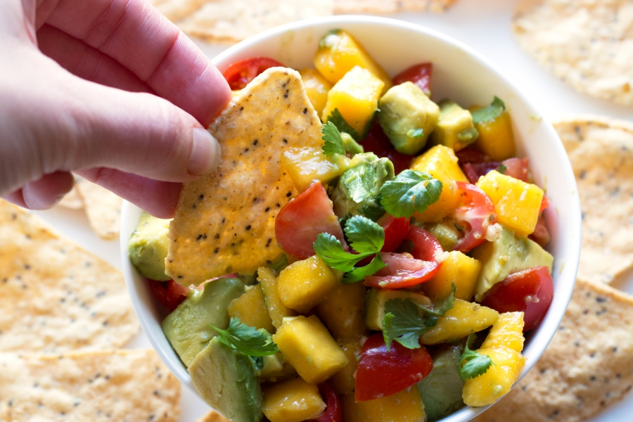 Mango Avocado Salsa - so many ways to enjoy this salsa. With chips, on fish, piled on a taco. The possibilities are endless! | www.grainchanger.com
