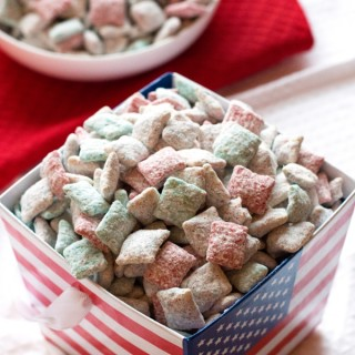 Patriotic Cake Batter Puppy Chow