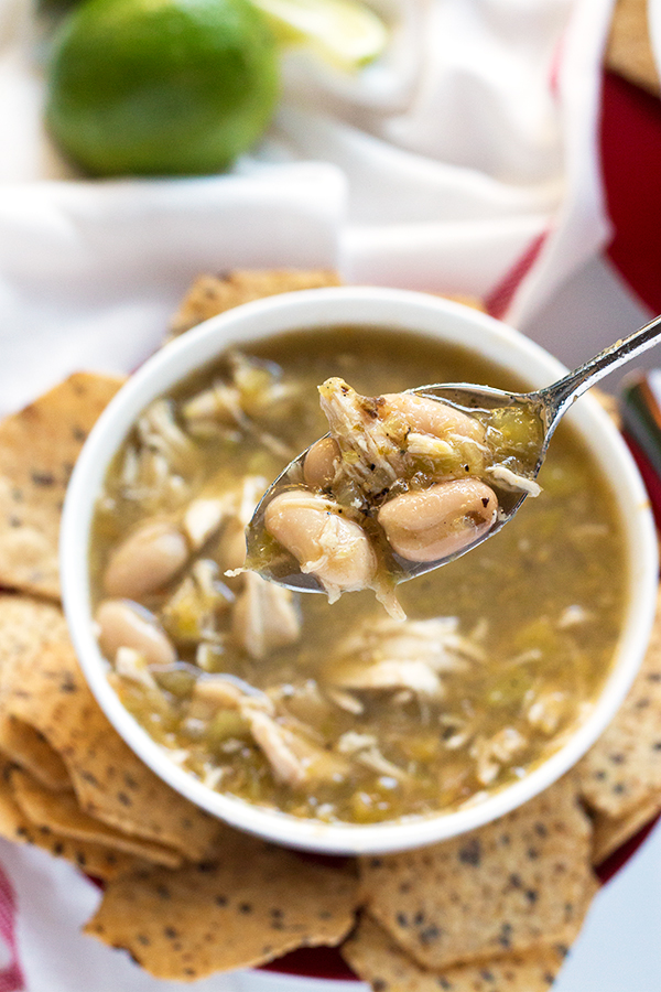 Slow Cooker Salsa Verde Chicken Soup - gluten free! | www.grainchanger.com