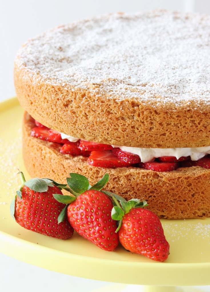 Gluten-Free Brown Butter Sponge Cake with Berries and Whipped Cream by Thoroughly Nourished Life