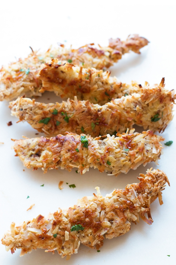 Gluten-Free Baked Coconut Chicken Tenders | www.grainchanger.com
