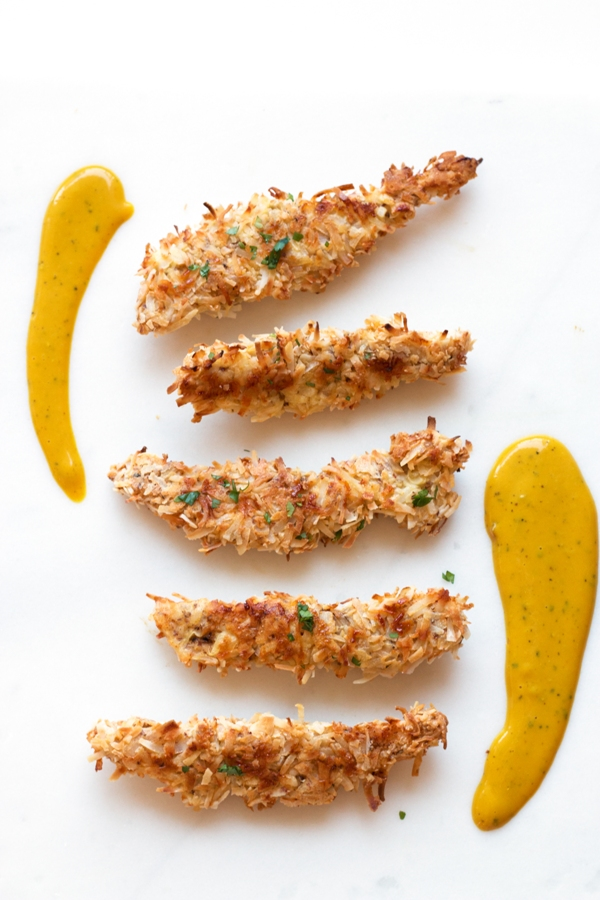 Coconut Chicken Tenders with Honey Mustard Sauce | www.grainchanger.com