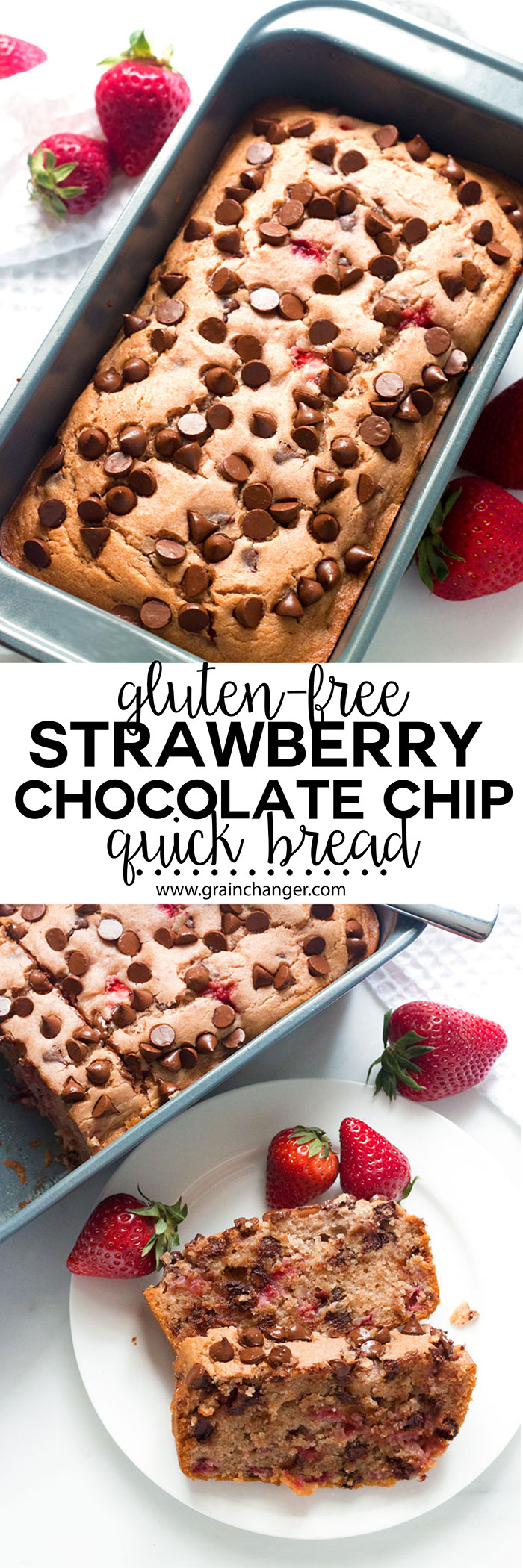 Gluten-Free Strawberry Chocolate Chip Quick Bread | www.grainchanger.com