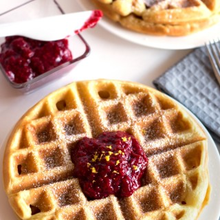 Gluten-Free Buttermilk Waffles with Raspberry Compote