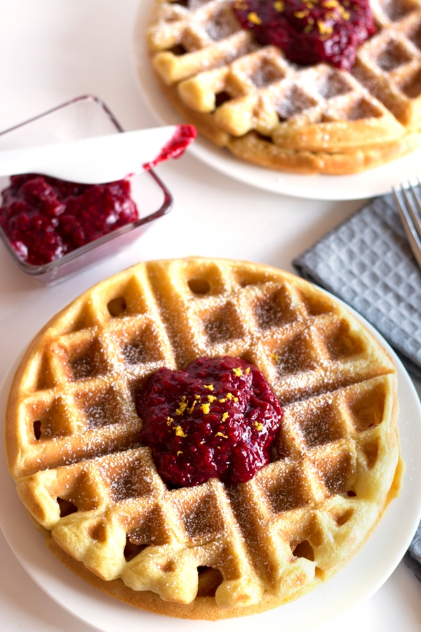 Gluten-Free Buttermilk Waffles with Raspberry Compote - the PERFECT way to spoil Mom rotten this Mother's Day |www.grainchanger.com