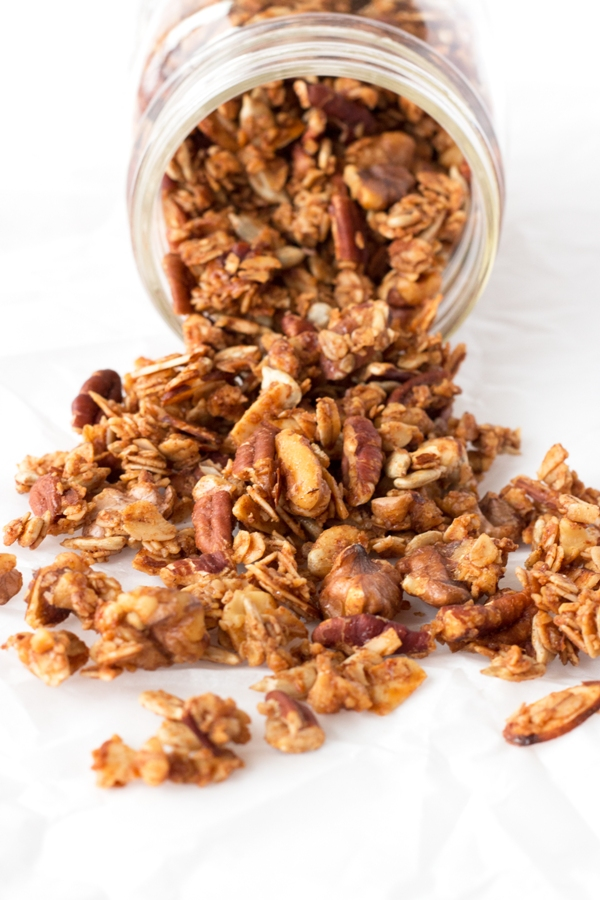 Gluten-Free Cinnamon Nut Granola - quick, simple, and SO good |www.grainchanger.com