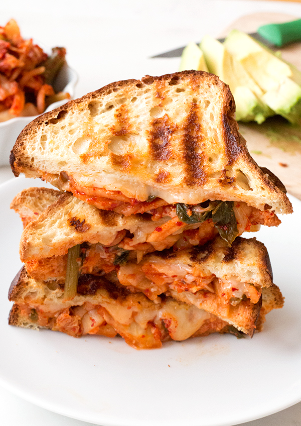 Kimchi Grilled Cheese on gluten-free bread - delicious! |www.grainchanger.com