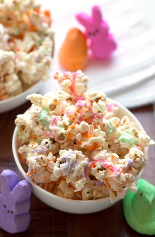 Peeps Popcorn - a yummy spring treat | grainchanger.com