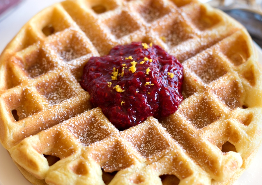 Rasberry Compote is the perfect compliment to these gluten-free buttermilk waffles. And it's SO easy to make!! | www.grainchanger.com