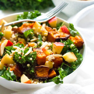 Roasted Sweet Potato and Kale Salad with Lemon Tahini Dressing