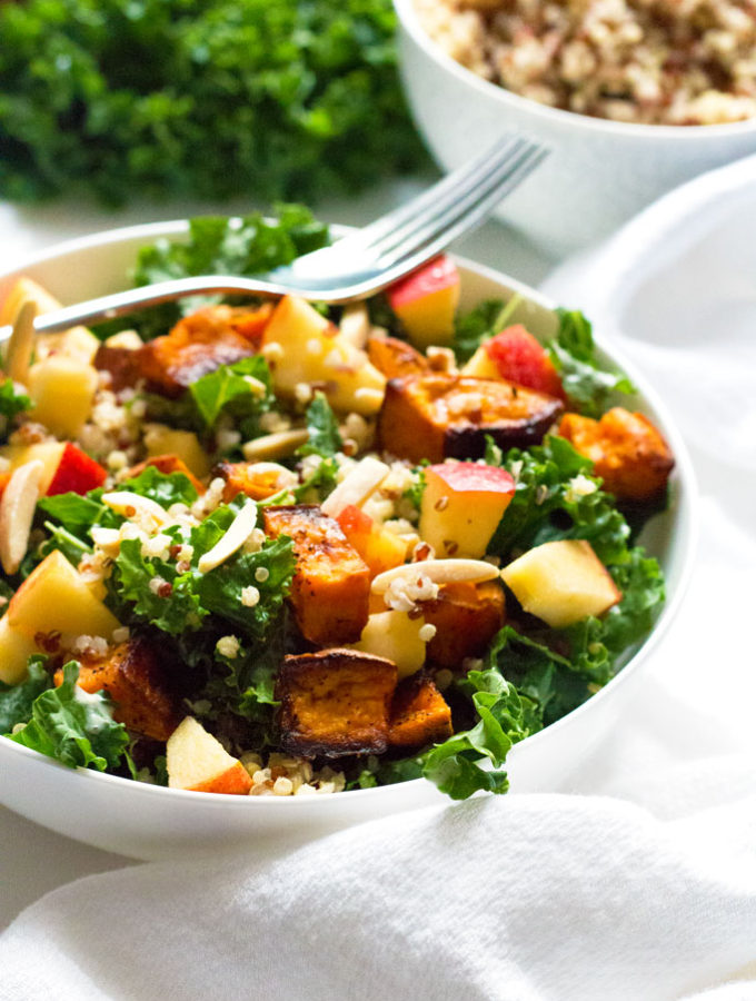 Sweet Potato and Kale Salad with Lemon Tahini Dressing | www.grainchanger.com